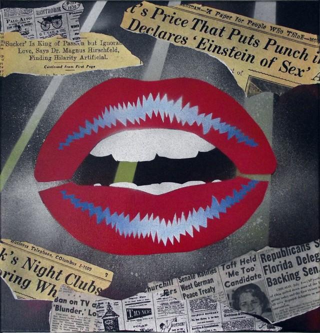 Lips - Pop art on canvas by Mr Pilgrim