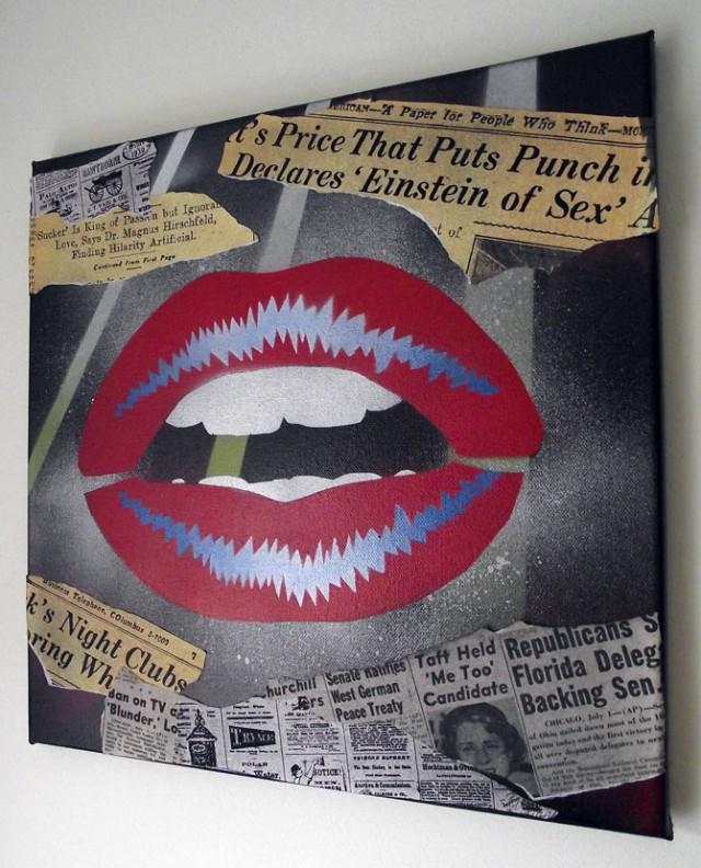 Lips 4 - Pop art on canvas by Mr Pilgrim