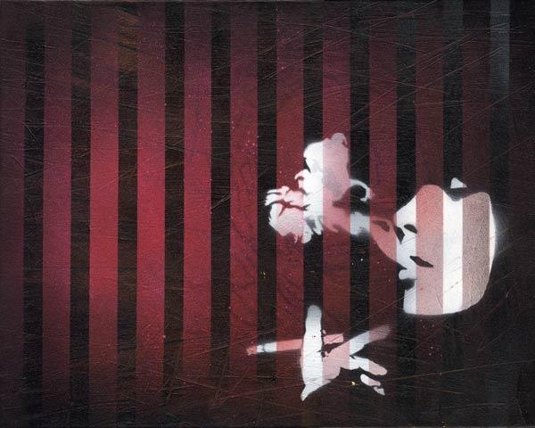 Mr Pilgrim Buy Art Online - Smoking Through Blinds   urban art, graffiti art, stencil art, original art for sale