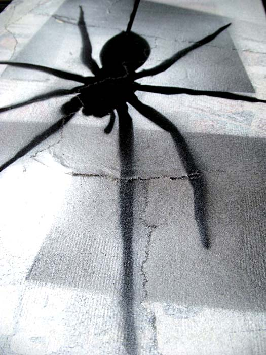 Mr Pilgrim Graffiti Art on Newspaper - Fear of Spiders 01