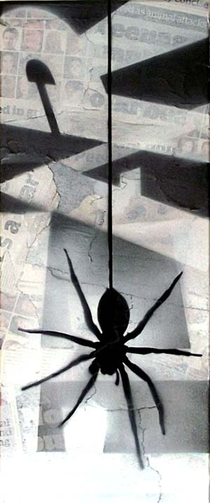 Mr Pilgrim Graffiti Art on Newspaper - Fear of Spiders 02