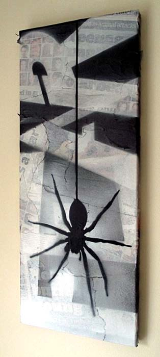 Mr Pilgrim Graffiti Art on Newspaper - Fear of Spiders 04