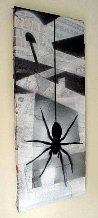 Mr Pilgrim Graffiti Art on Newspaper - Fear of Spiders 05