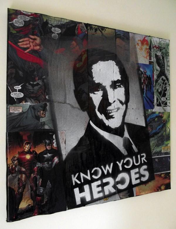 Mr Pilgrim - Know Your Heroes   Original art on canvas, urban art, street art for sale, street artist, buy graffiti art on canvas