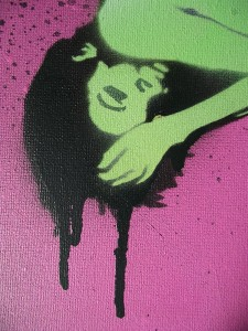 Graffiti Art Buy Online, graffiti girl, pop art pink, urban art for sale, urban artist, graffiti artist.
