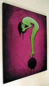 Mr Pilgrim Graffiti Art Buy Online, graffiti girl, pop art pink, urban art for sale, urban artist, graffiti artist.