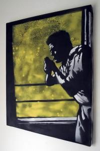 Urban artist mr pilgrim, graffiti stencil art for sale, buy graffiti art on canvas, graffiti artist, spray paintings.