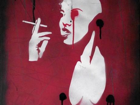 Robot smoking graffiti street art - buy graffiti art online, wall canvas art for sale, abstract art canvas, stretched canvas wall art, pop art on canvas.