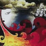 Stretched canvas wall art, mixed media, original art for sale, buy art online, graffiti art, graffiti artist.