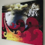 Stretched canvas wall art, mixed media, original art for sale, buy art online, graffiti art, graffiti artist.
