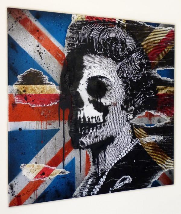 urban art for sale, mr pilgrim, god save the queen, uk urban art for sale.