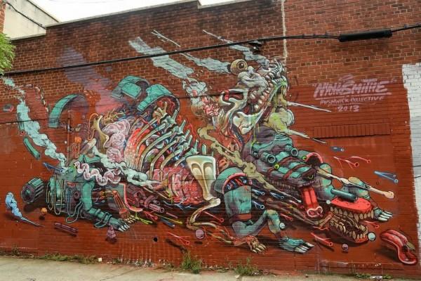 Nychos, wall murals, street art, urban art, graffiti art, mr pilgrim, roa, mr thoms, pixel pancho, zildra, shepard fairey, obey.