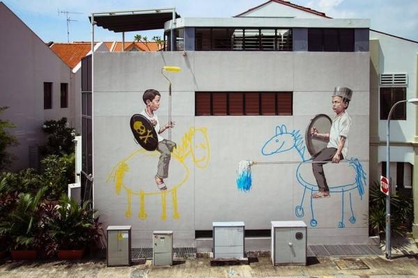 Ernest Zacharevic, graffiti street art, urban art online, graffiti art, street artists, urban artists, graffiti artists, free walls