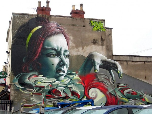 Smug & Epok made this awesome piece for Upfest in Bedminster, UK in 2012