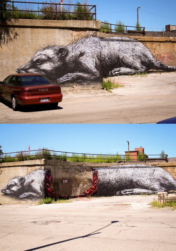 ROA, imaginative street art, graffiti art, street artists, urban murals, urban art, mr pilgrim art.