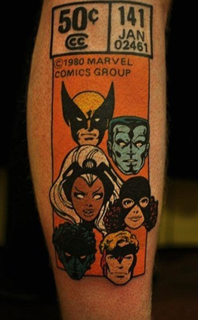 x men, comics, geek tattoos, nerd tattoos, geeky tattoos, hot geeks, geek ink, nerd ink, mr pilgrim.