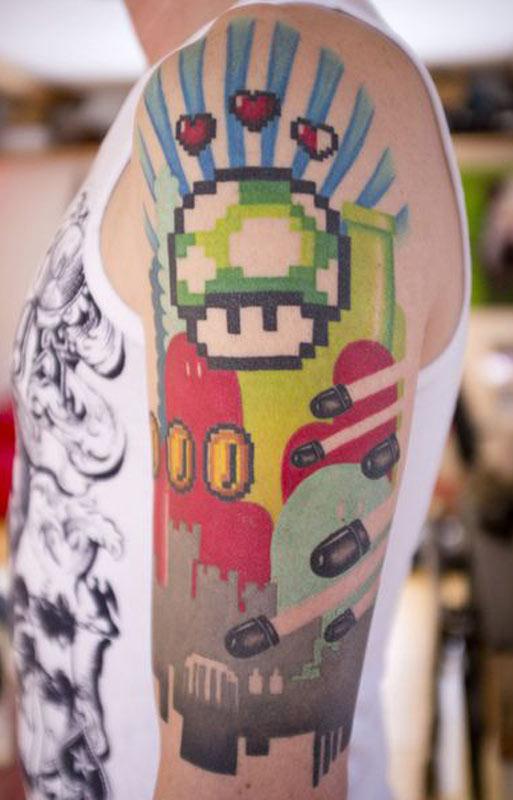 nintendo, super mario, mushroom, geek tattoos, nerd tattoos, geeky tattoos, hot geeks, geek ink, nerd ink.