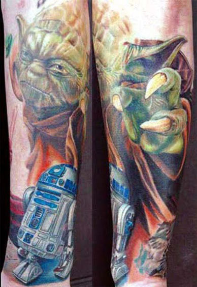 star wars, r2d2, yoda, geek tattoos, nerd tattoos, geeky tattoos, hot geeks, geek ink, nerd ink.