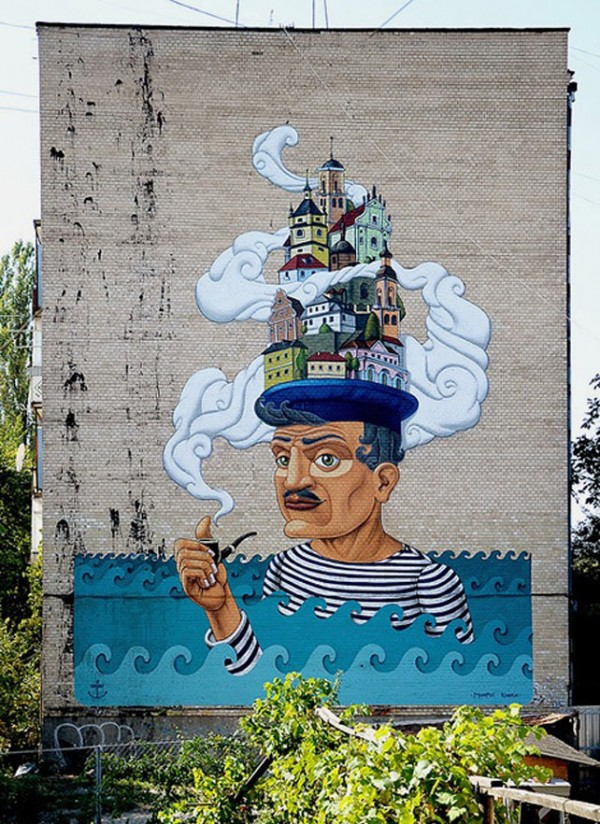 Kislow, imaginative street art, graffiti art, street artists, urban murals, urban art, mr pilgrim art.
