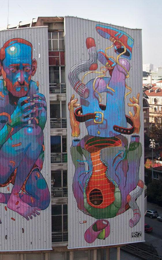 Aryz, imaginative street art, graffiti art, street artists, urban murals, urban art, mr pilgrim art.