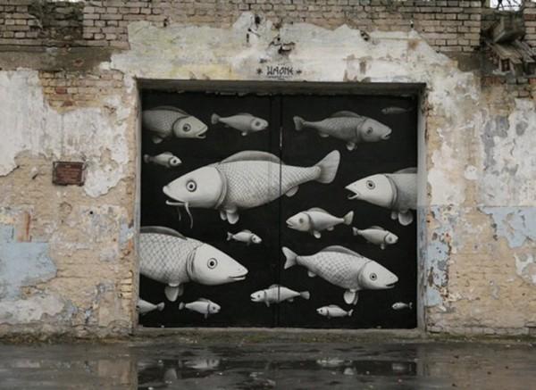 Interesni Kazki, imaginative street art, graffiti art, street artists, urban murals, urban art, mr pilgrim art.