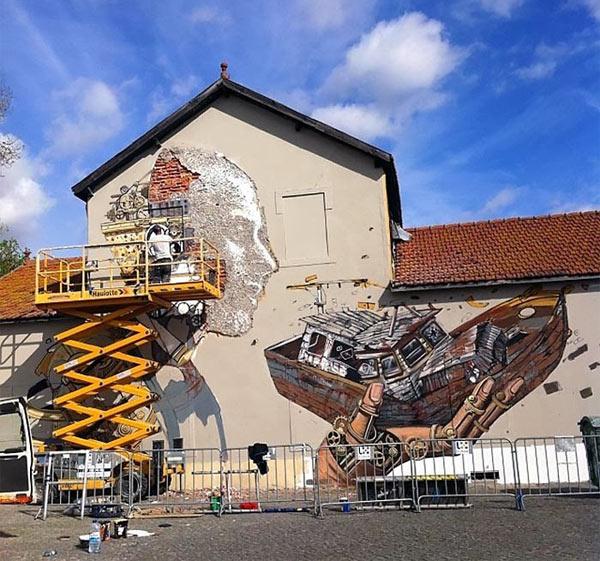 Urban artists, Pixel Pancho, Vhils, Lisbon, Portugal, street art, freewalls.