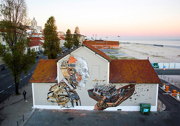 Urban artists, Pixel Pancho and Vhils, Lisbon, Portugal, street art, freewalls.