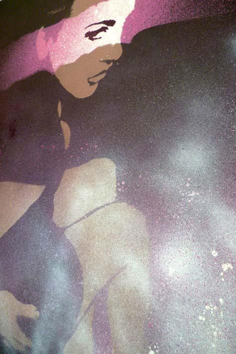 "Mr Pilgrim Stencil Art for Sale ""One Look"" | street artist original urban art on canvas available to buy graffiti art online"