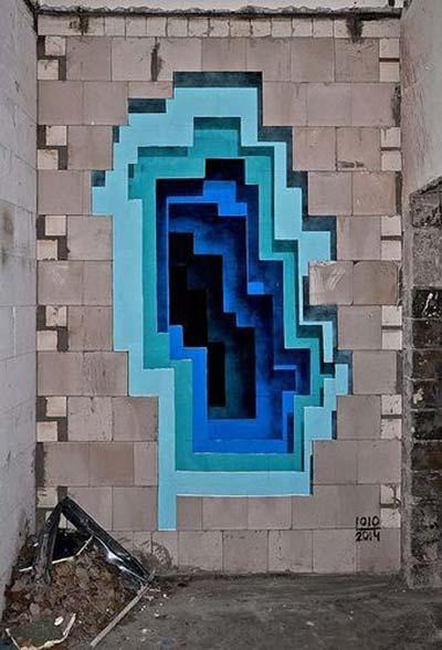 3D street art mural by 1010 & Abyss | stunning urban art, graffiti art, street art