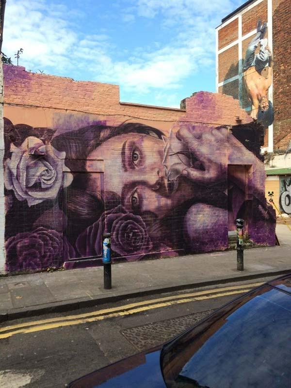 Australian artist Rone in London, UK (Martin Ron in the background) | stunning urban art, graffiti art, street art