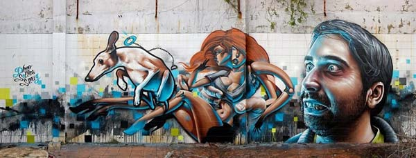 Awesome work from three amazing urban artists Smug, Dr Dheo and Sofles in Portugal, 2012