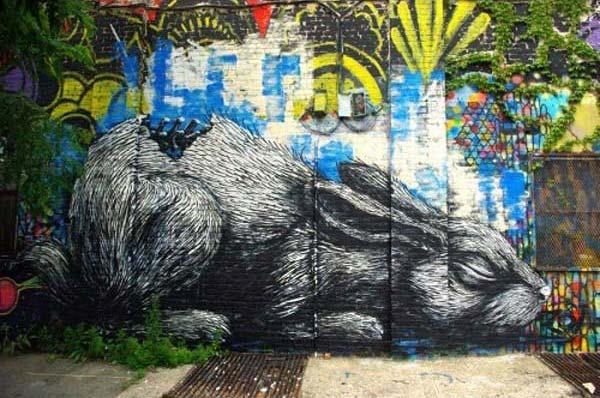 Dead rabbit by ROA