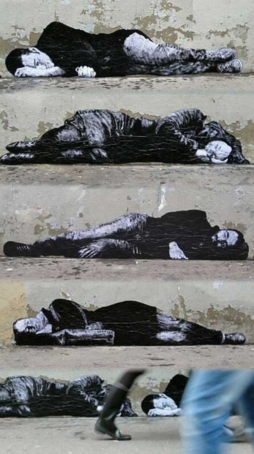Poignant street art by French artist Levalet