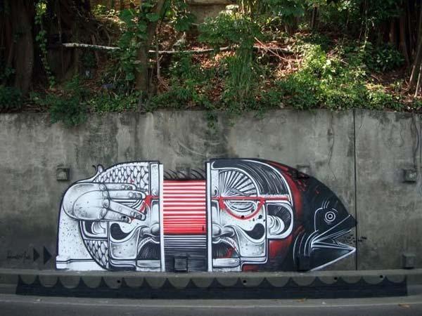 Street art by How & Nosm | explore street art of the world