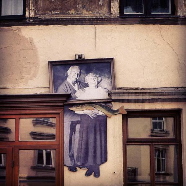 Street art in Uzupis, Vilnius, Lithuania (unknown artist)