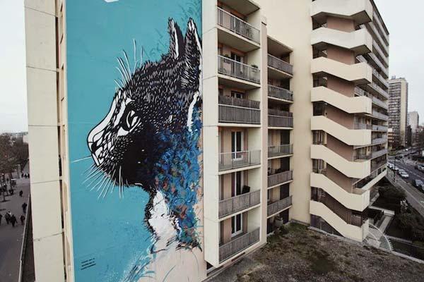 Urban art by French stencil artist C215