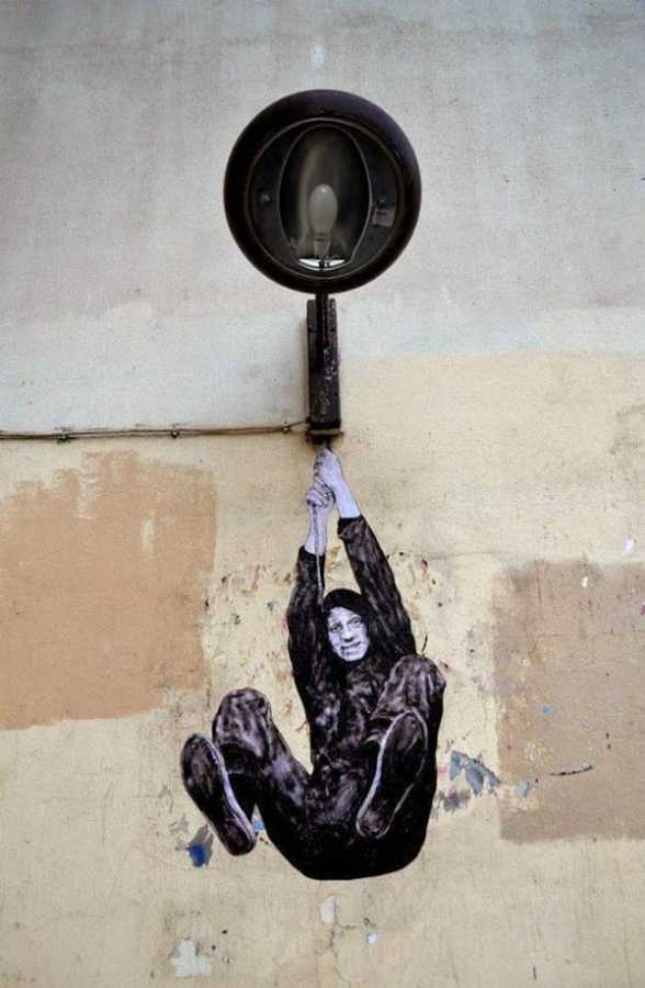 Paste up street art in Paris, France by French artist Levalet
