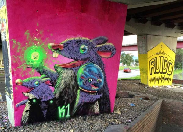Street art in Colombia by Kochino & Erre