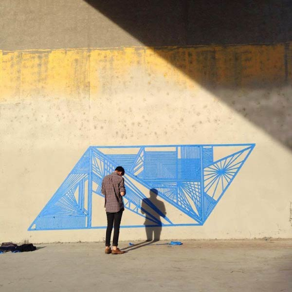 Street art made using tape in California, USA by Fleks