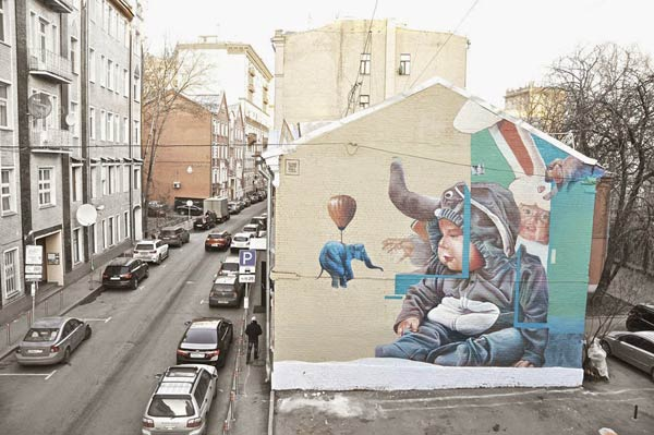 Street art by Telmo Miel in Moscow, Russia
