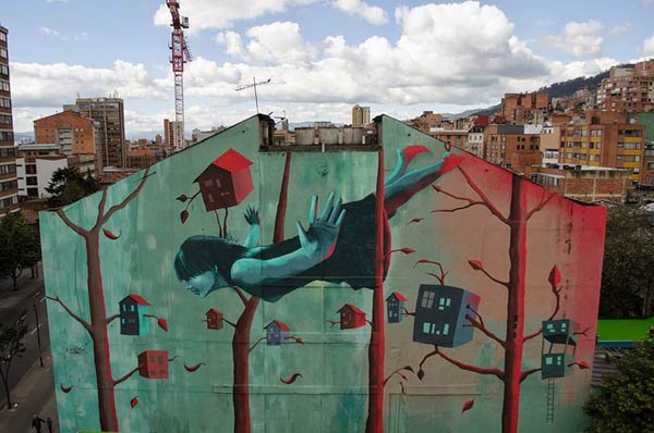 Mural in Bogota, Colombia by Zokos