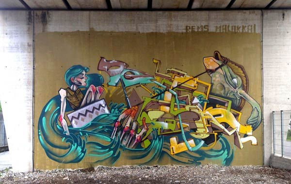 Street art in Friuli, Italy by Malakkai and Rems