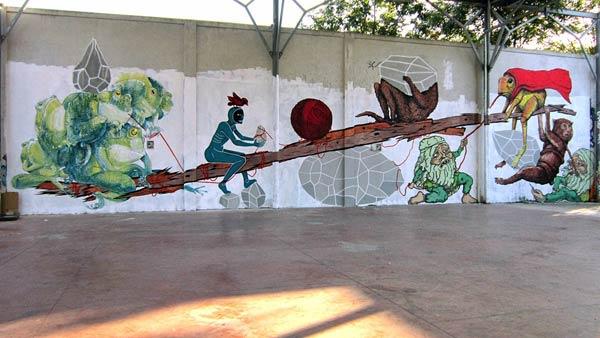 Street art in Rome, Italy by Andreco, Ericailcane, Hitness, Alleg & Bastardilla