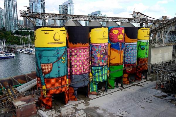 Os Gemeos Giants in Vancouver, Biennale (2014)