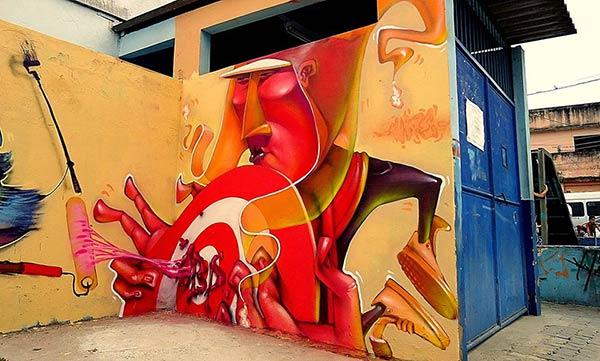 Street art in Duque de Caxias, Brazil by Lelin Alves