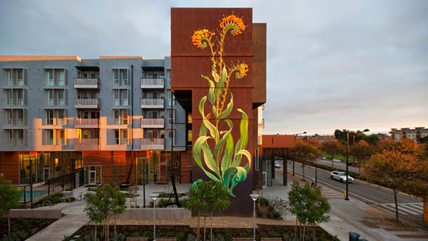 Street art in Union City, California, USA by Mona Caron