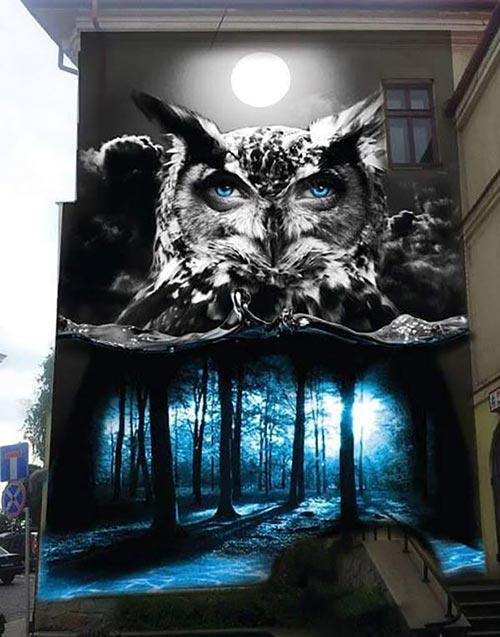 Amazing mural for Galeria Bielska BWA in Bielsko-Biala, Poland (2015 photo by Turbograff)