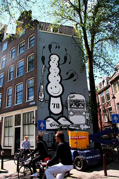 Amsterdam Street artists The London Police completed this mural in the Jordaan district in Amsterdam