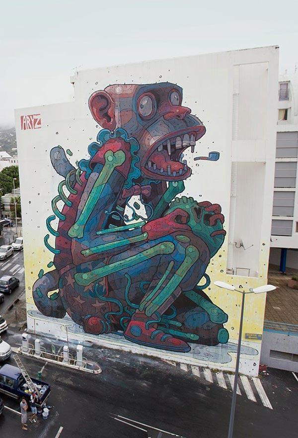 Spanish artist Aryz in St Denis, Reunion Island (2012)