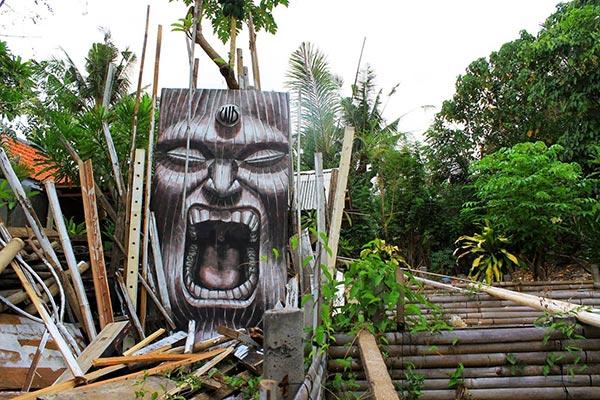 Street art in Bali, Indonesia by WD (Wild Drawings)